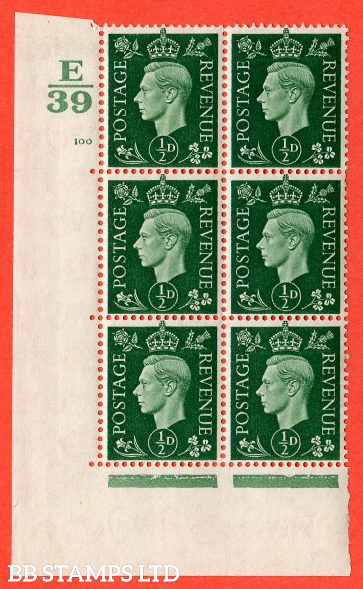 "SG. 462. Q1. ½d Green. A superb UNMOUNTED MINT "" Control E39 cylinder 100 no dot "" block of 6 with perf type 5 E/I with marginal rule."