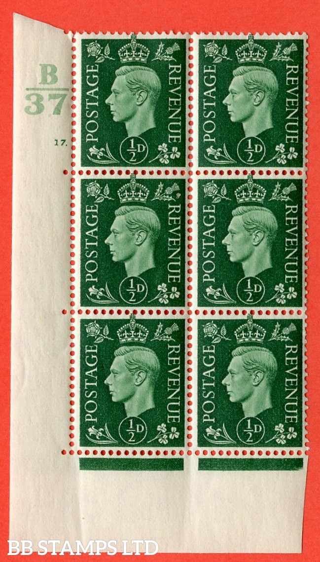 "SG. 462. Q1. ½d Green. A superb UNMOUNTED MINT"" Control B37 cylinder 17 dot "" block of 6 with perf type 5 E/I with marginal rule."