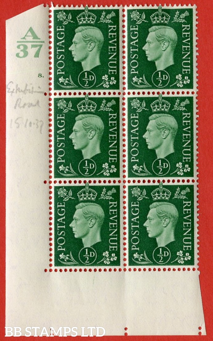 "SG. 462. Q1. ½d Green. A very fine lightly mounted mint "" Control A37 cylinder 8 dot "" block of 6 with perf type 5 E/I without marginal rule."