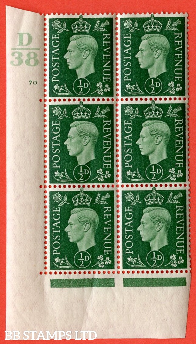 "SG. 462. Q1. ½d Green. A superb UNMOUNTED MINT "" Control D38 cylinder 70 no dot "" block of 6 with perf type 5 E/I with marginal rule."