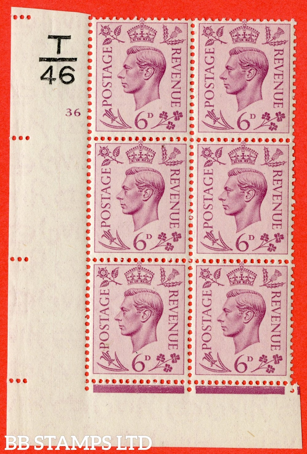 """SG. 470. Q22. 6d Purple. A superb UNMOUNTED MINT """" Control T46 cylinder 36 no dot """" control block of 6 with perf type 2 I/E."""