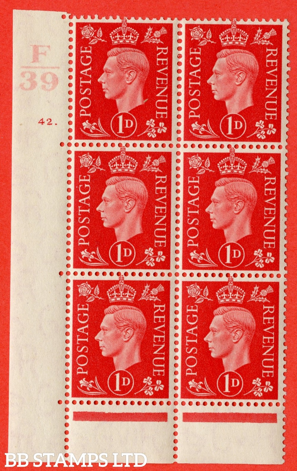 "SG. 463. Q4. 1d Scarlet. A very fine lightly mounted mint "" Control F39 cylinder 42 dot "" block of 6 with perf type 6B E/P with marginal rule. Perf separation at top."