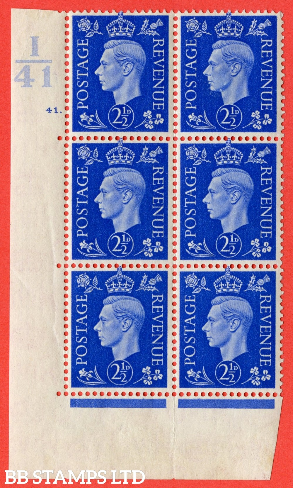 "SG. 466. Q13. 2½d Ultramarine.  A fine lightly mounted mint "" Control I41 cylinder 41 dot "" control block of 6 with perf type 5 E/I with marginal rule."