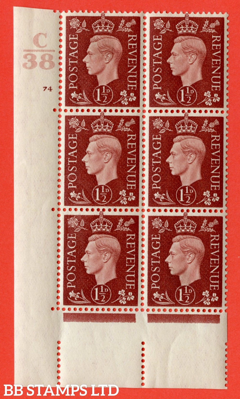 """SG. 464. Q7. 1½d Red-Brown. A fine lightly mounted mint """" Control C38 cylinder 74 no dot """" control block of 6 with perf type 5 E/I. with marginal rule."""