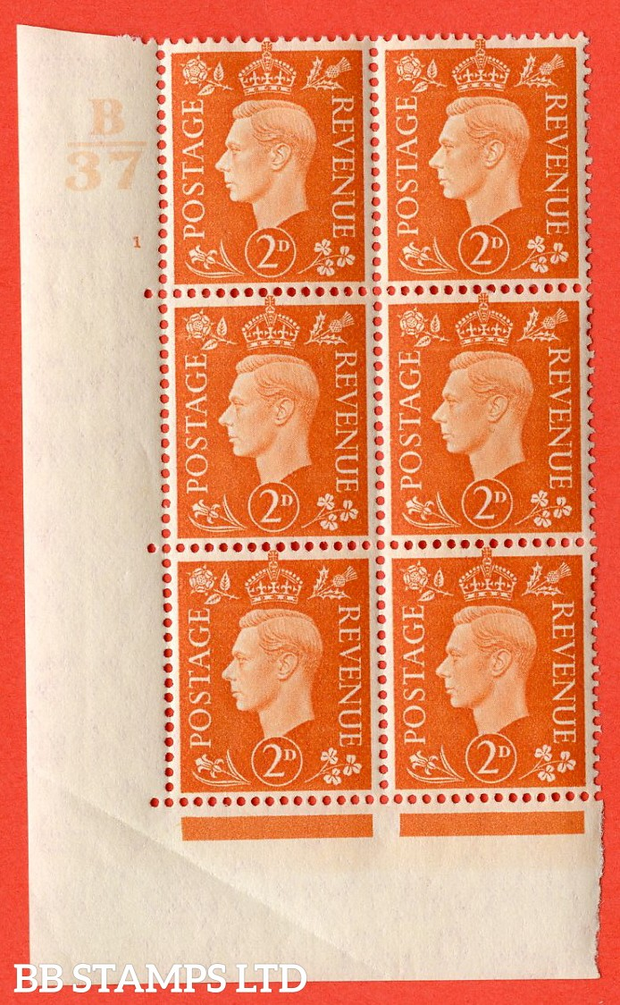 "SG. 465. Q10. 2d Orange. A very fine lightly mounted mint "" Control B37 cylinder 1 no dot "" control block of 6 with perf type 5 E/I. Crease in margin."