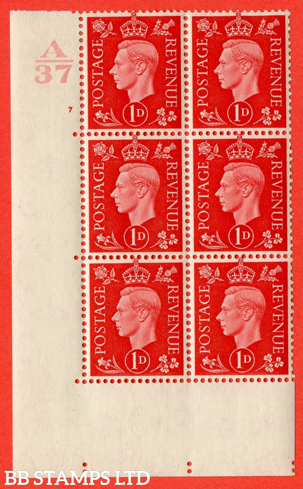 "SG. 463. Q4. 1d Scarlet. A very fine lightly mounted mint "" Control A37 cylinder 7 no dot "" block of 6 with perf type 5 E/I without marginal rule."