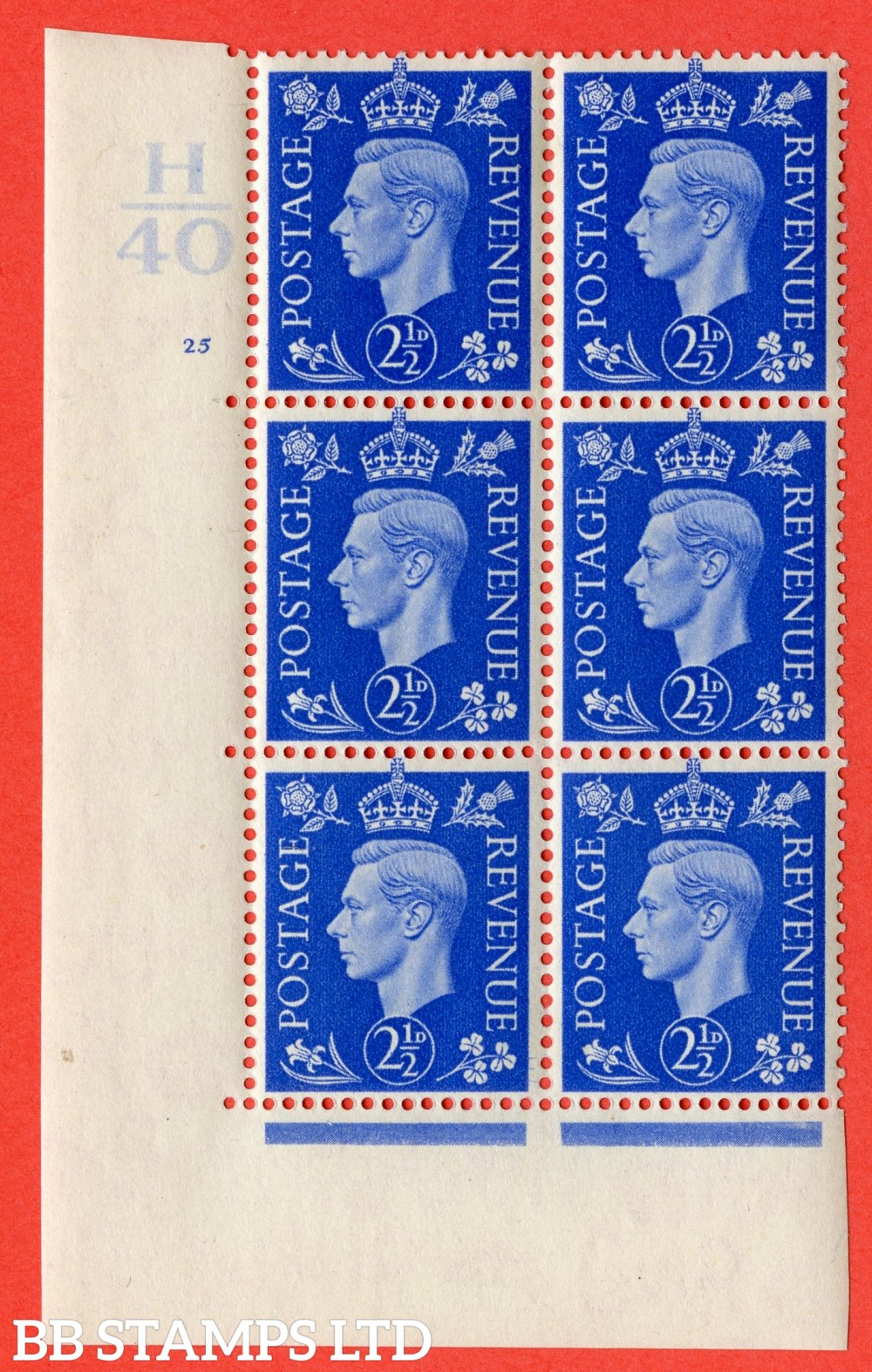 """SG. 466. Q13. 2½d Ultramarine.  A very fine lightly mounted mint """" Control H40 cylinder 25 no dot """" control block of 6 with perf type 5 E/I with marginal rule."""
