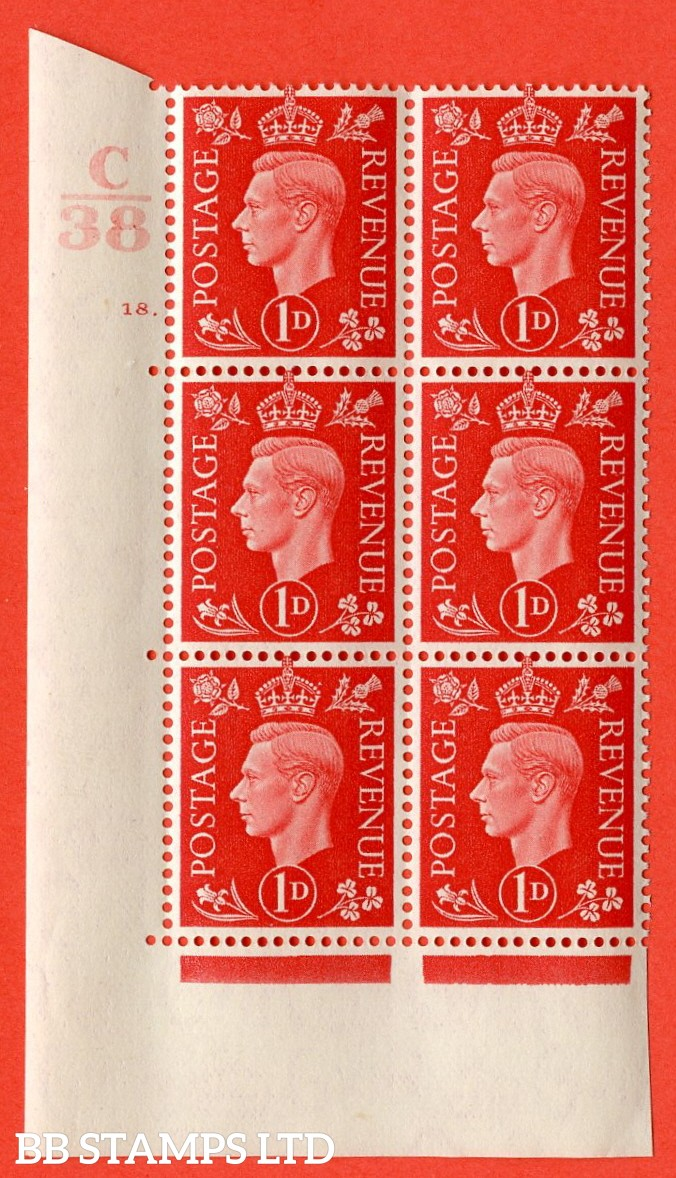 "SG. 463. Q4. 1d Scarlet. A superb UNMOUNTED MINT "" Control E39  cylinder 18 dot "" block of 6 with perf type 5 E/I with marginal rule."