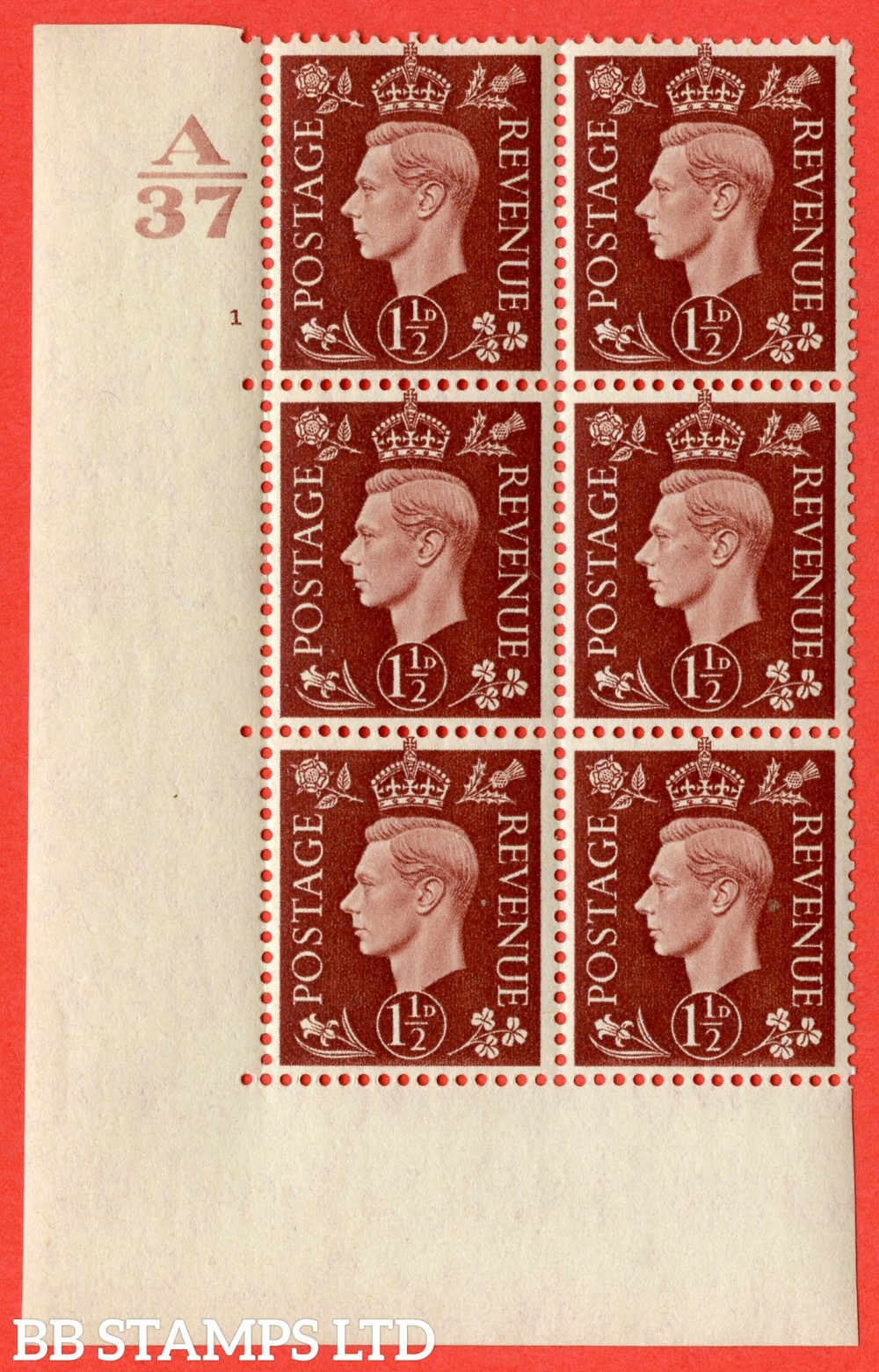 "SG. 464. Q7. 1½d Red-Brown. A fine lightly mounted mint "" Control A37 cylinder 1 no dot "" control block of 6 with perf type 5 E/I. without marginal rule."