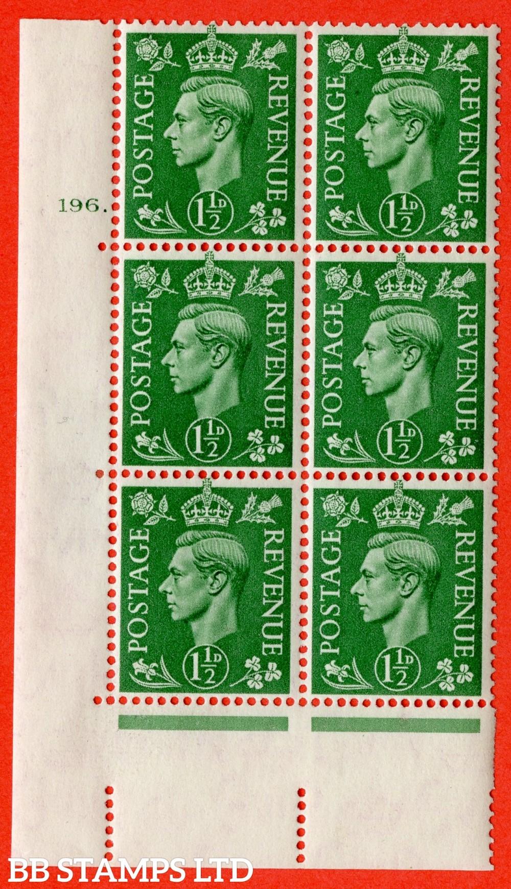 "SG. 505. Q9. 1½d Pale Green. A  very fine lightly mounted mint "" No Control cylinder 196 dot "" control block of 6 with perf type 5 E/I."