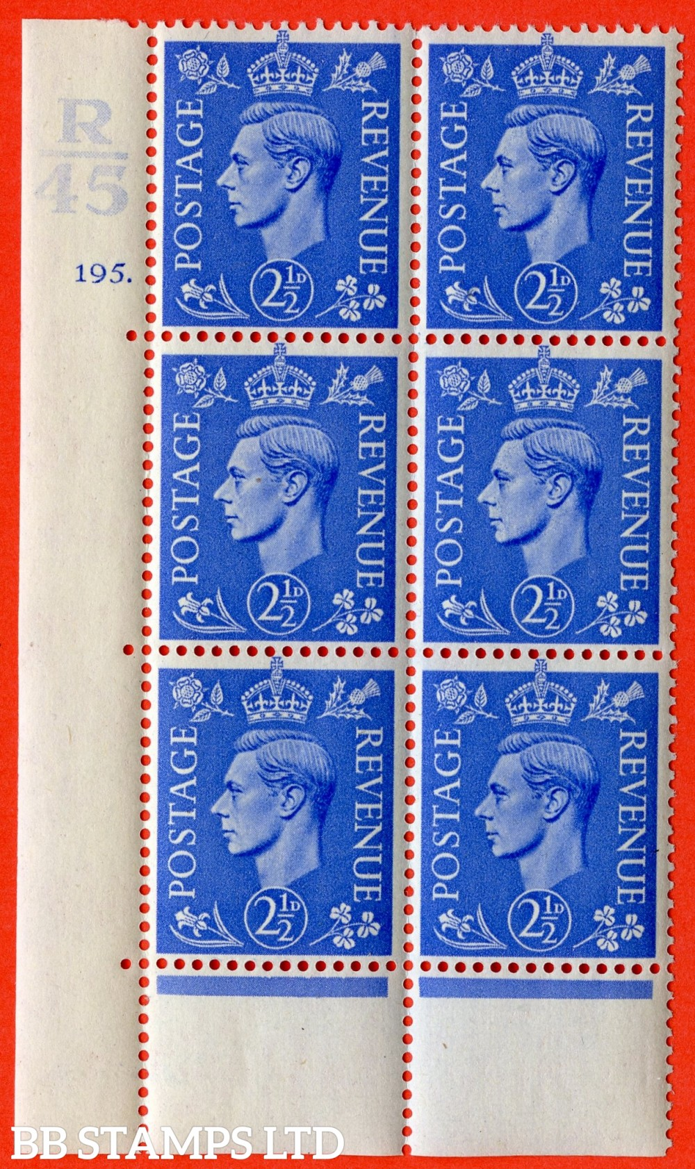 "SG. 489. Q14. 2½d Light ultramarine. A superb UNMOUNTED MINT ""  Control R45 cylinder 195 (i) dot "" control block of 6 with perf type 6 I/P."