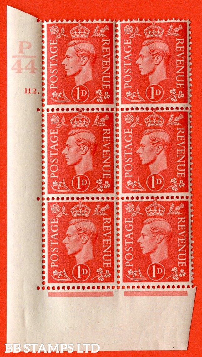 "SG. 486. Q5. 1d Pale scarlet. A superb UNMOUNTED MINT ""  Control P44 cylinder 112 dot "" control block of 6 with perf type 5 E/I."