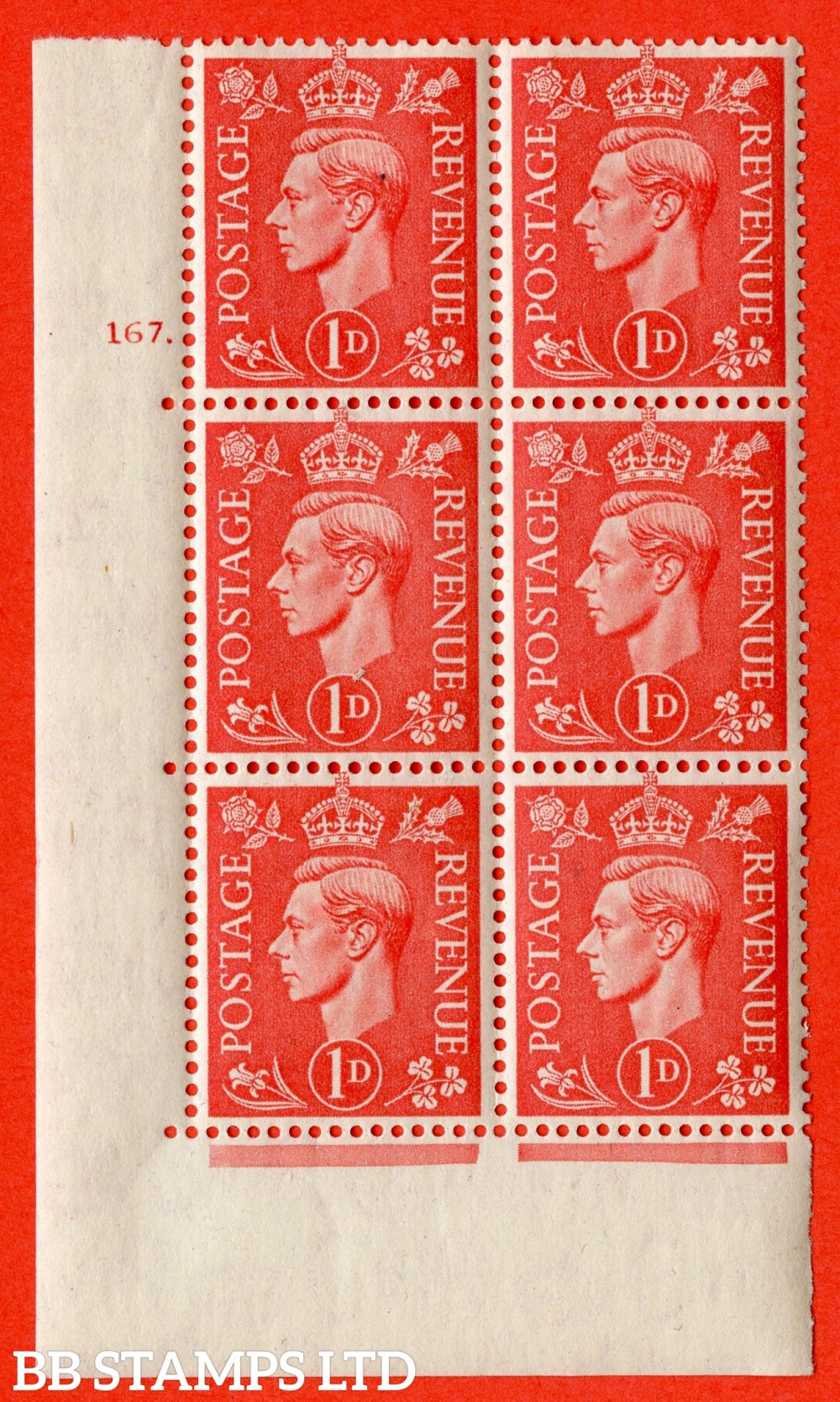 """SG. 486. Q5. 1d Pale scarlet. A fine lightly mounted mint """"  No Control cylinder 167 dot """" control block of 6 with perf type 5 E/I."""