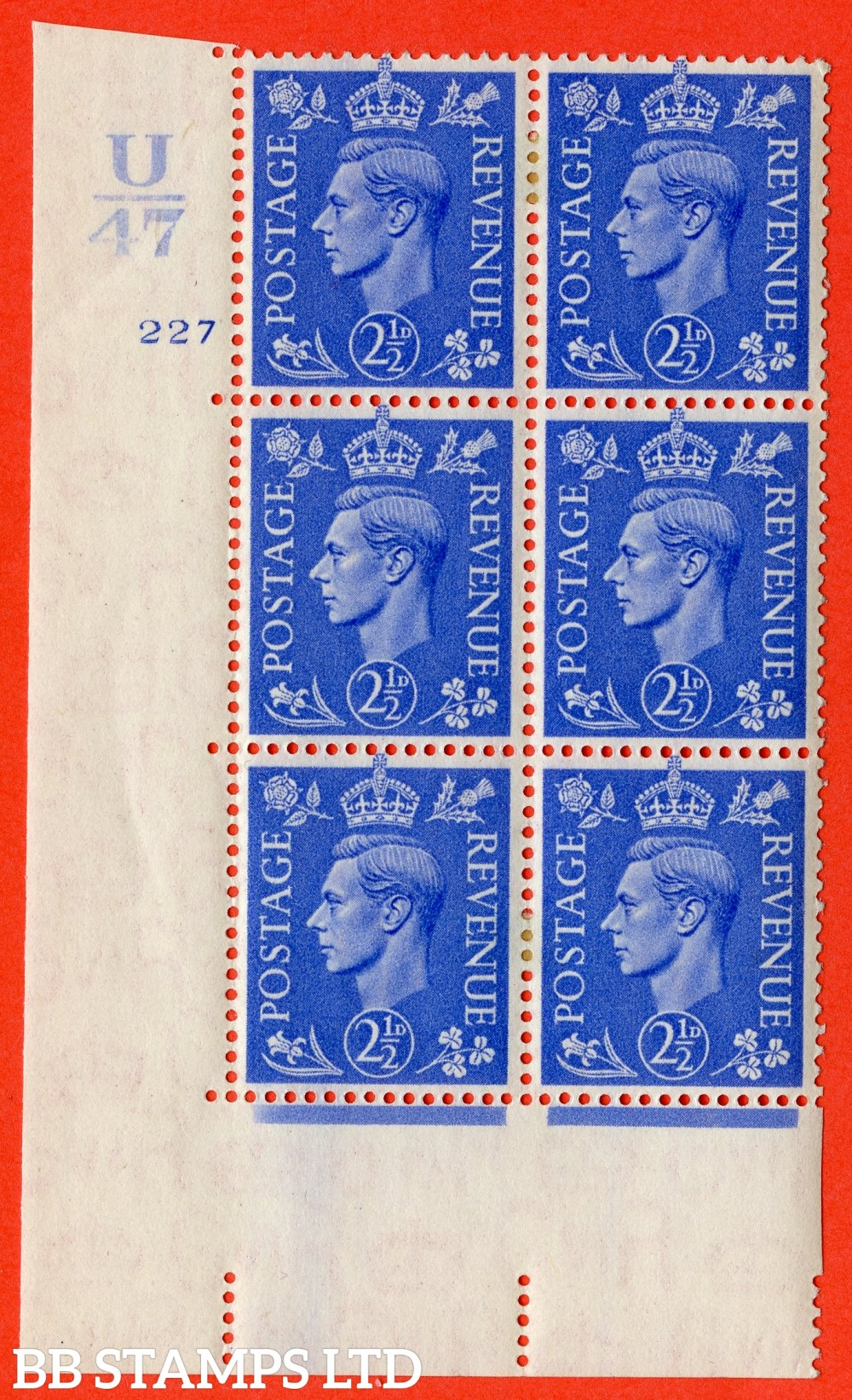"""SG. 489. Q14. 2½d Light ultramarine. A very fine lightly mounted mint """"  Control U47 cylinder 227 no dot """" control block of 6 with perf type 5 E/I."""
