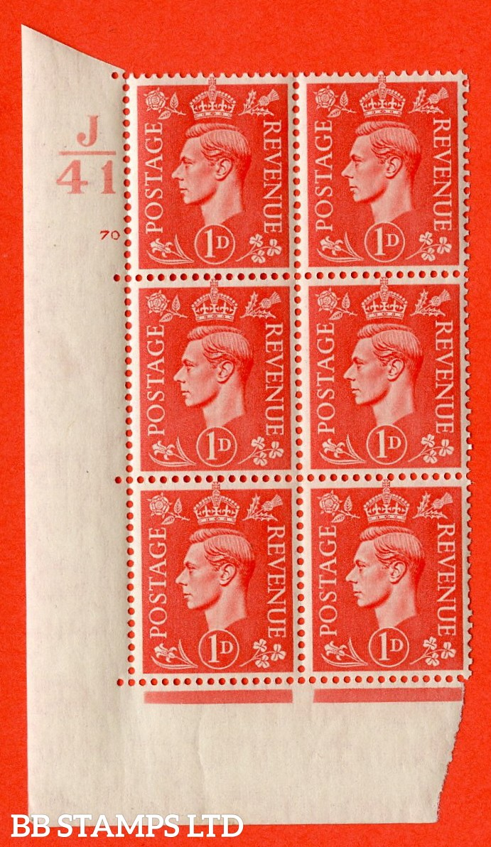 """SG. 486. Q5. 1d Pale scarlet. A superb UNMOUNTED MINT """"  Control J41 cylinder 70 no dot """" control block of 6 with perf type 5 E/I."""