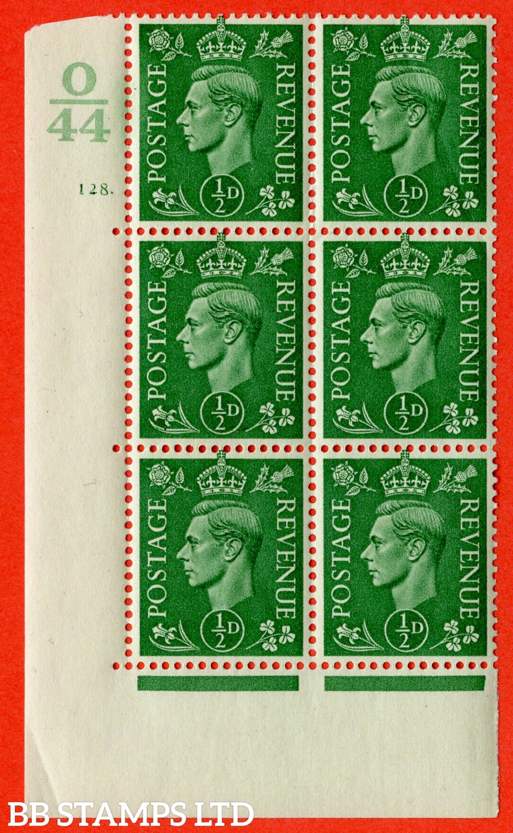 "SG. 485. Q2. ½d Pale Green. A very fine lightly mounted mint "" Control O44 cylinder 128 dot "" block of 6 with perf type 5 E/I with marginal rule. Small crease."