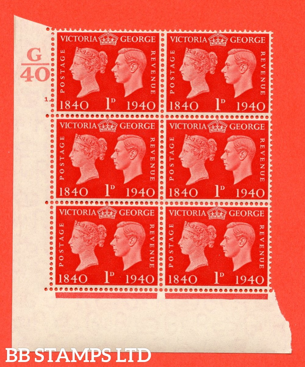 """SG. 480. QCom3. 1d Scarlet. A Superb UNMOUNTED MINT """" Control G40 cylinder 1 dot """" block of 6 with perf type 5 E/I"""