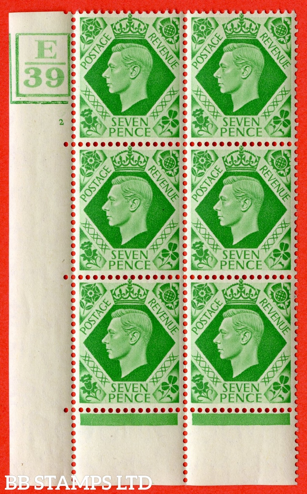 """SG. 471. Q23. 7d Emerald-Green. A fine lightly mounted mint """" Control E39 Box bar bottom and left cylinder 2 no dot """" control block of 6 with perf type 5 E/I."""