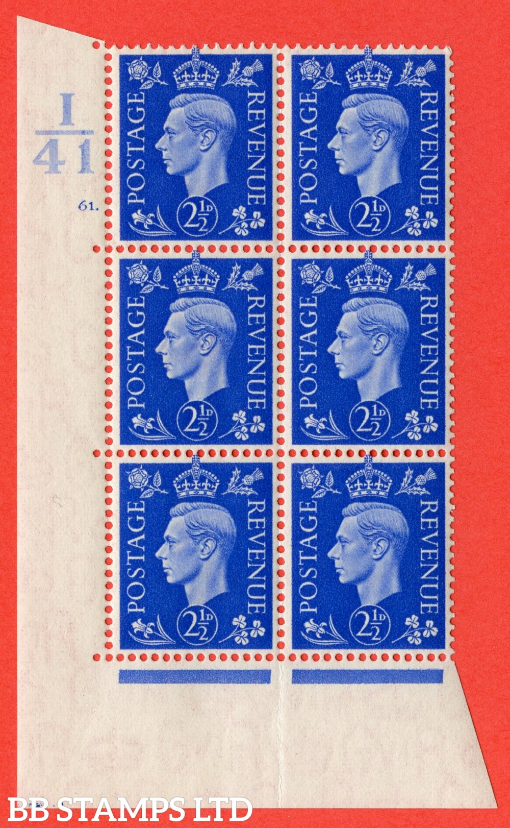 "SG. 466. Q13. 2½d Ultramarine.  A superb UNMOUNTED MINT "" Control I41 cylinder 61 dot "" control block of 6 with perf type 5 E/I with marginal rule."