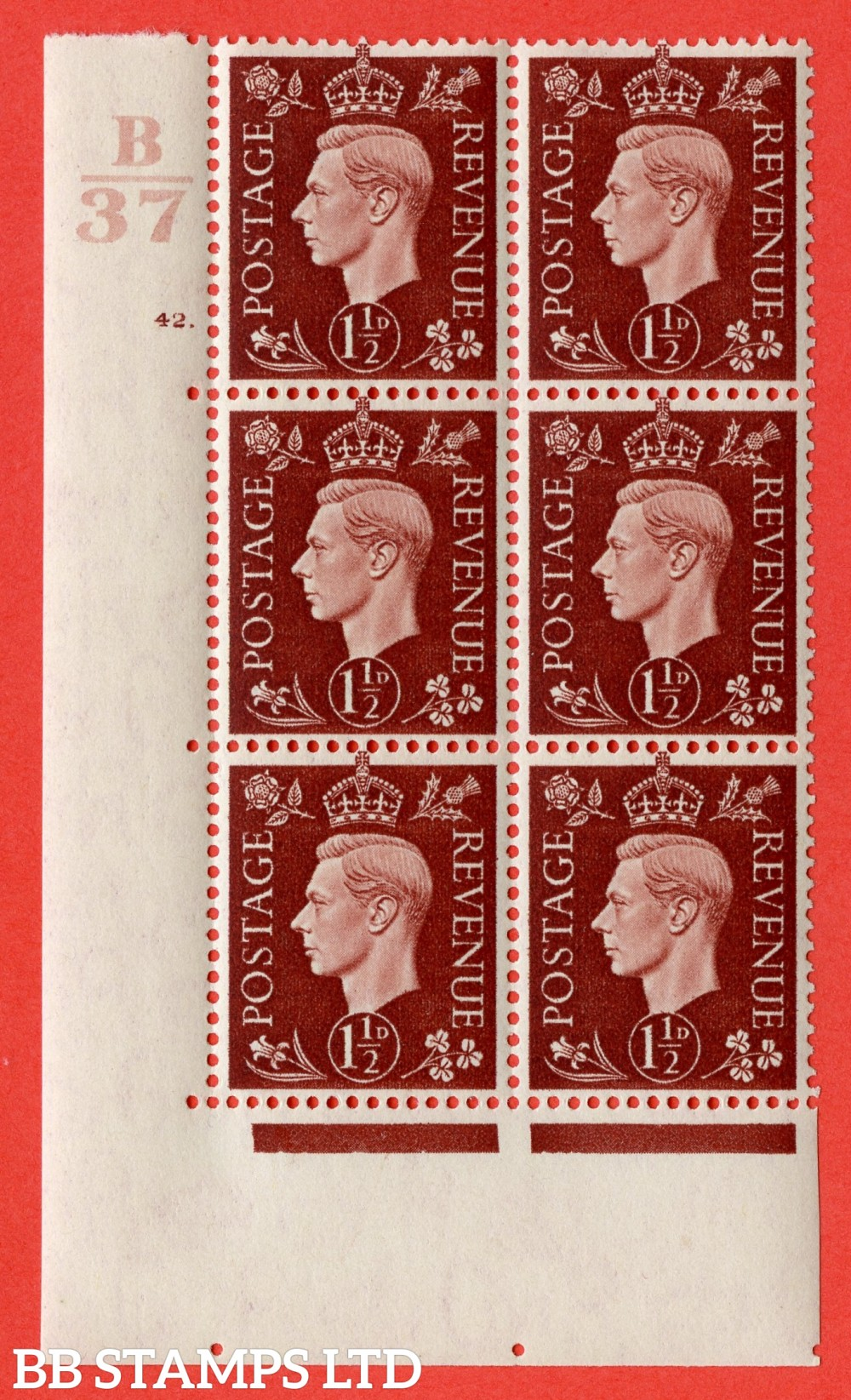 "SG. 464. Q7. 1½d Red-Brown. A superb UNMOUNTED MINT "" Control B37 cylinder 32 dot "" control block of 6 with perf type 5 E/I. with marginal rule."