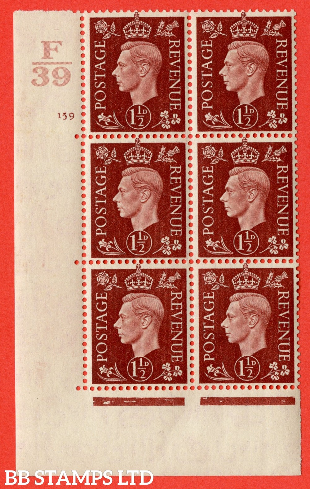 "SG. 464. Q7. 1½d Red-Brown. A very fine mounted mint "" Control F39 cylinder 159 no dot "" control block of 6 with perf type 5 E/I. with marginal rule."