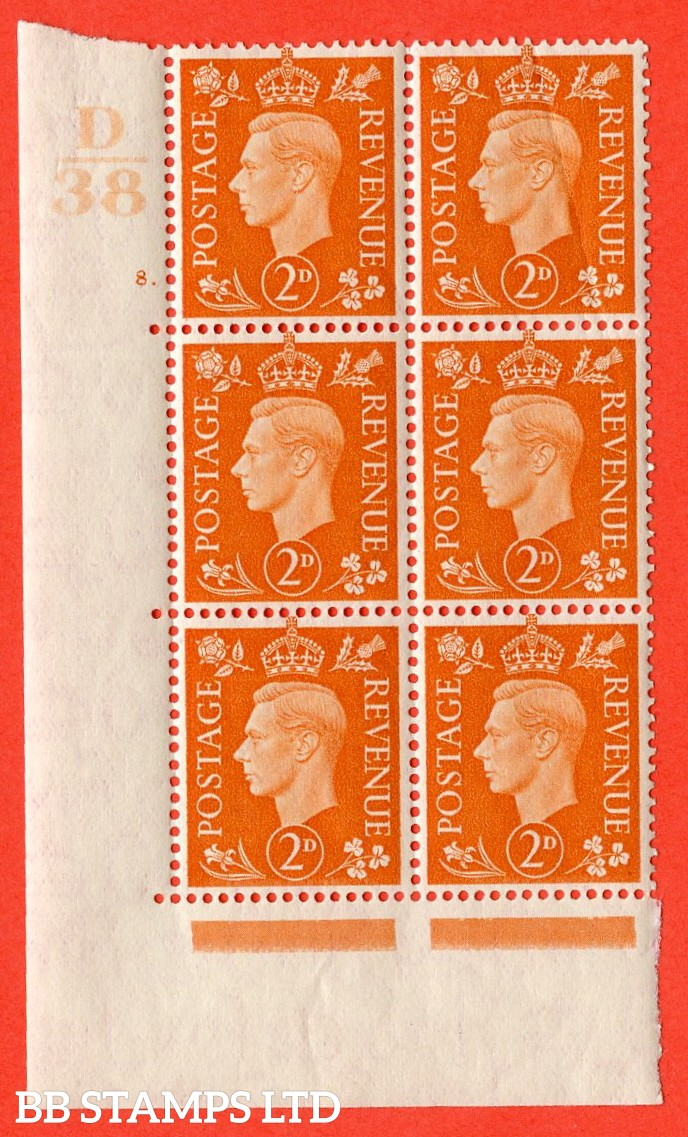 "SG. 465. Q10. 2d Orange. A superb UNMOUNTED MINT "" Control D38 cylinder 8 dot "" control block of 6 with perf type 5 E/I. Creased."