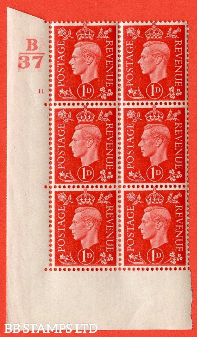 """SG. 463. Q4. 1d Scarlet. A superb UNMOUNTED MINT """" Control B37  cylinder 11 no dot """" block of 6 with perf type 5 E/I without marginal rule."""