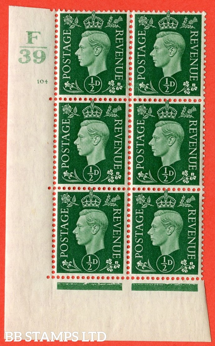 "SG. 462. Q1. ½d Green. A superb UNMOUNTED MINT"" Control F39 cylinder 104 no dot "" block of 6 with perf type 5 E/I with marginal rule."
