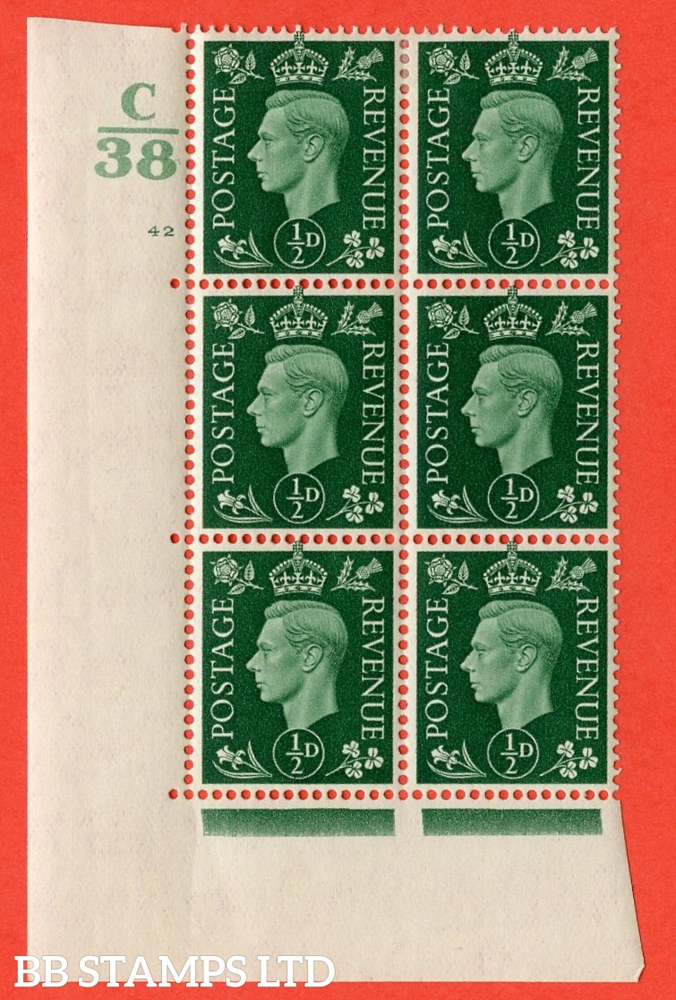 "SG. 462. Q1. ½d Green. A very fine lightly mounted mint "" Control C38 cylinder 42 dot "" block of 6 with perf type 5 E/I with marginal rule."