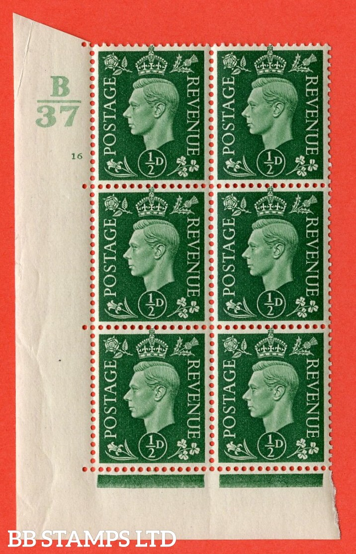 "SG. 462. Q1. ½d Green. A superb UNMOUNTED MINT "" Control B37 cylinder 16 no dot "" block of 6 with perf type 5 E/I with marginal rule."