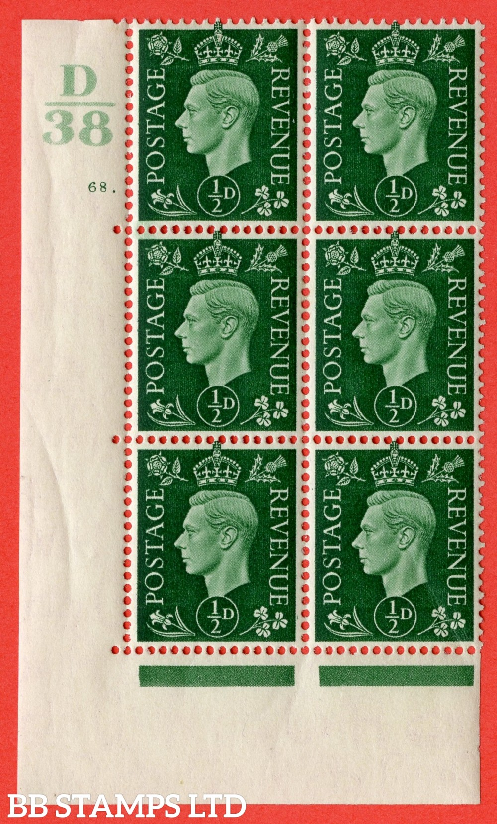 "SG. 462. Q1. ½d Green. A fine lightly mounted mint "" Control D38 cylinder 68 dot "" block of 6 with perf type 5 E/I with marginal rule."