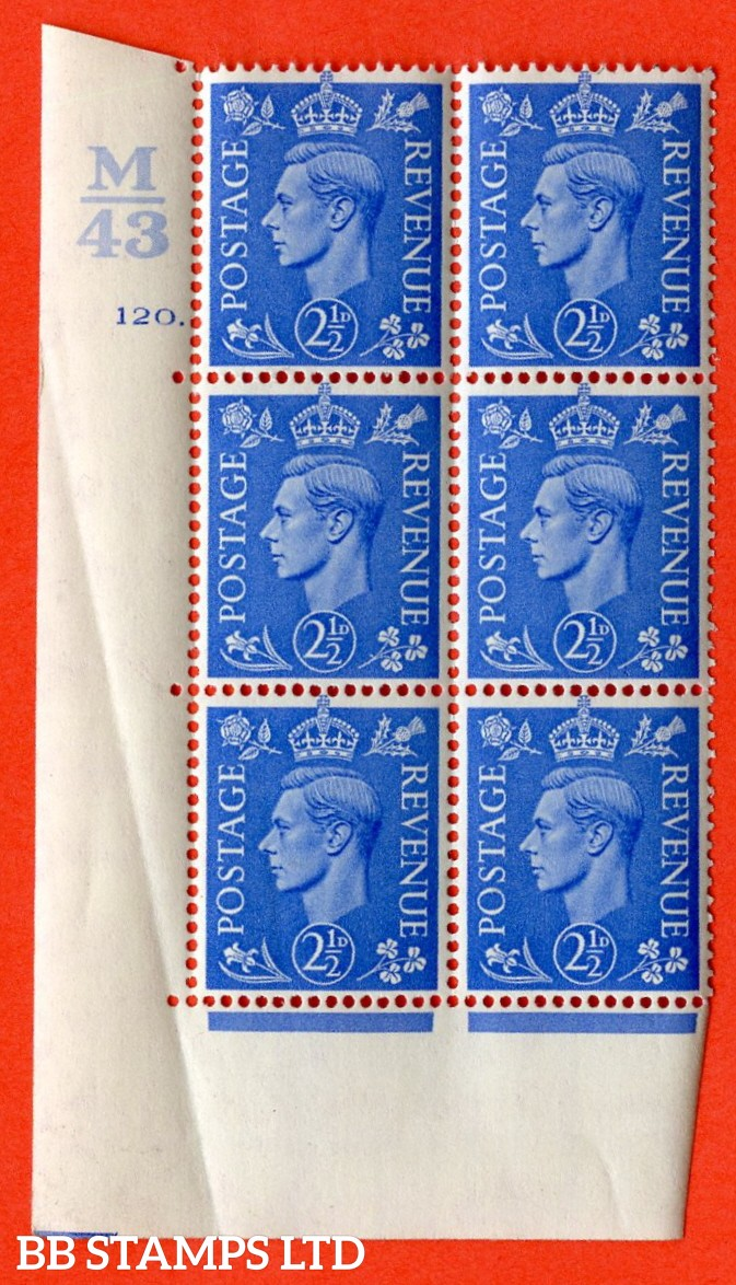 "SG. 489. Q14. 2½d Light ultramarine. A superb UNMOUNTED MINT "" Control M43 cylinder 120 dot "" control block of 6 with perf type 5 E/I. Creased in margin."