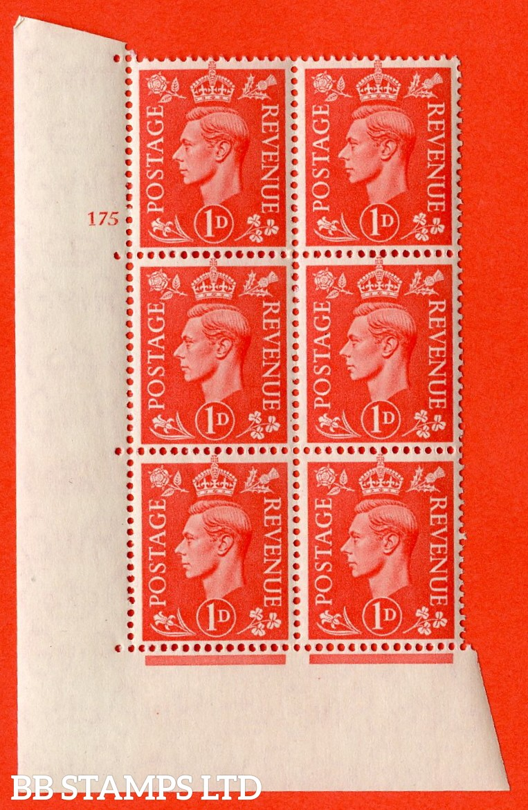 "SG. 486. Q5A. 1d Pale scarlet. A superb UNMOUNTED MINT "" No Control cylinder 175 no dot "" control block of 6 with perf type 5 E/I."