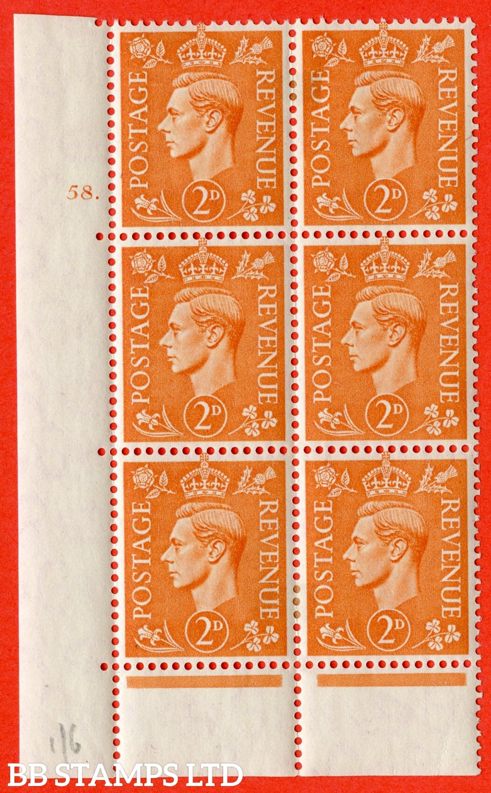 "SG. 488. Q11. 2d Pale Orange. A fine ligthtly mounted mint "" No Control cylinder 58 dot "" control block of 6 with perf type 6B E/P."