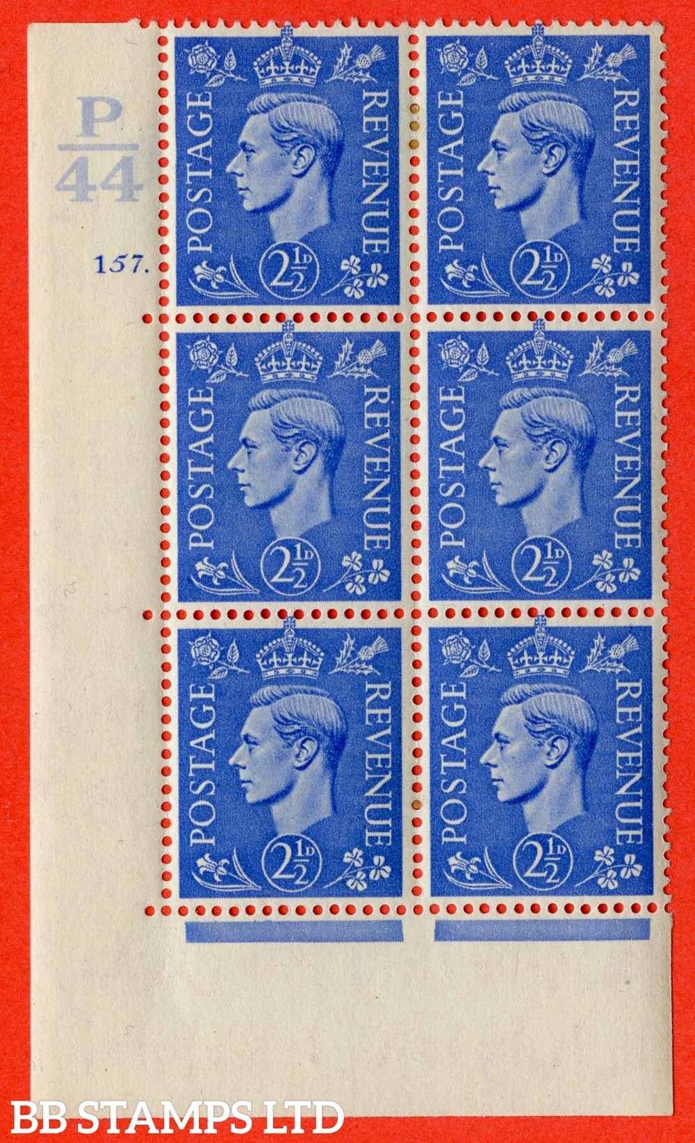 """SG. 489. Q14. 2½d Light ultramarine. A very fine lightly mounted mint """"  Control P44 cylinder 157 dot """" control block of 6 with perf type 5 E/I."""