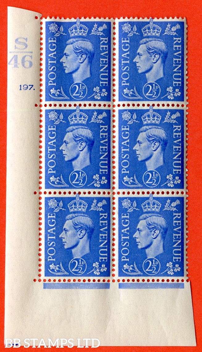 "SG. 489. Q14. 2½d Light ultramarine. A  superb UNMOUNTED MINT ""  Control S46 cylinder 197 dot "" control block of 6 with perf type 5 E/I."