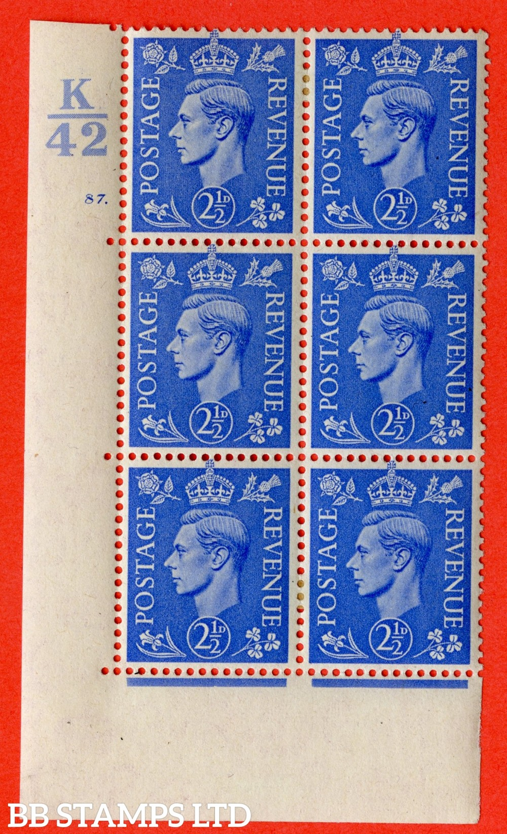 "SG. 489. Q14. 2½d Light ultramarine. A very fine lightly mounted mint ""  Control K42 cylinder 87 dot "" control block of 6 with perf type 5 E/I."