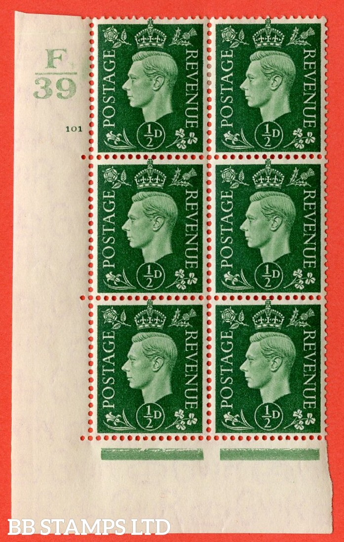 "SG. 462. Q1. ½d Green. A very fine lightly mounted mint "" Control F39 cylinder 101 no dot "" block of 6 with perf type 5 E/I with marginal rule. Creased."