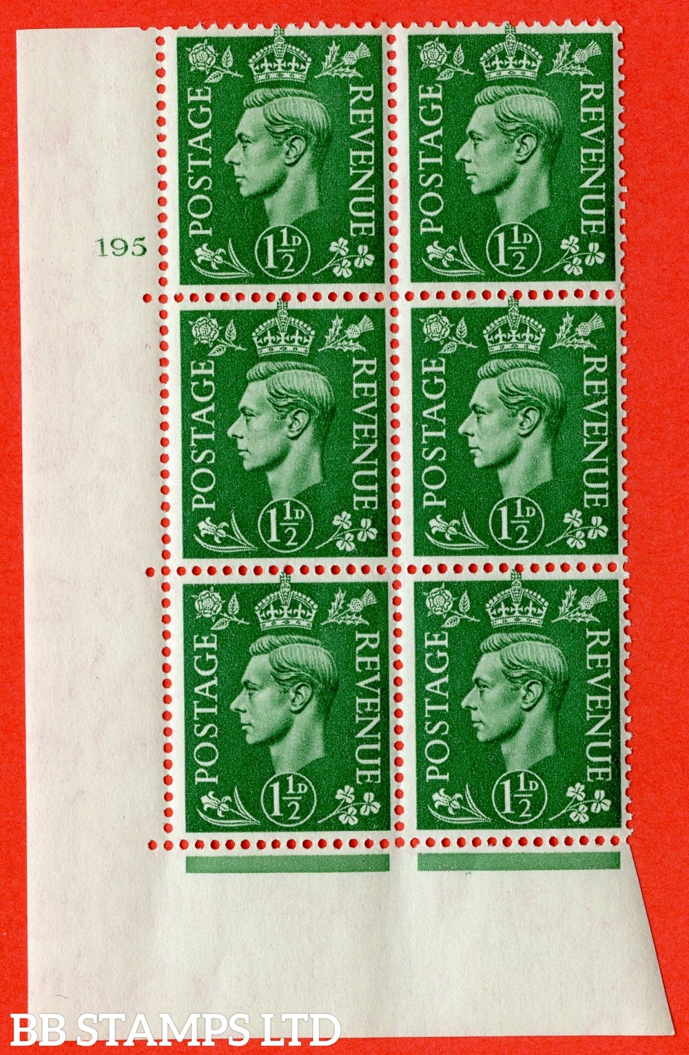 "SG. 505. Q9. 1½d Pale Green. A superb UNMOUNTED MINT "" No Control cylinder 195 no dot "" control block of 6 with perf type 5 E/I."