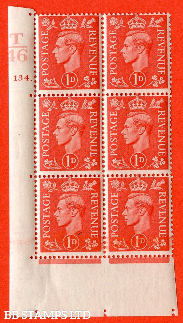 "SG. 486. Q5. 1d Pale scarlet. A superb UNMOUNTED MINT "" Control T46 cylinder 134 dot "" control block of 6 with perf type 5 E/I."