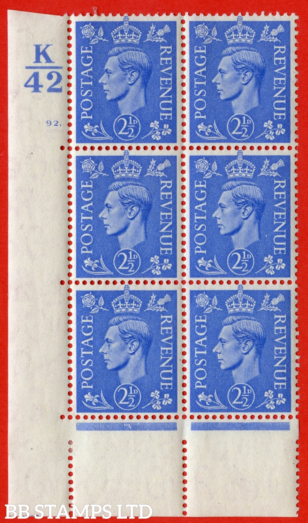 "SG. 489. Q14. 2½d Light ultramarine. A very fine lightly mounted mint ""  Control K42 cylinder 92 dot "" control block of 6 with perf type 5 E/I."