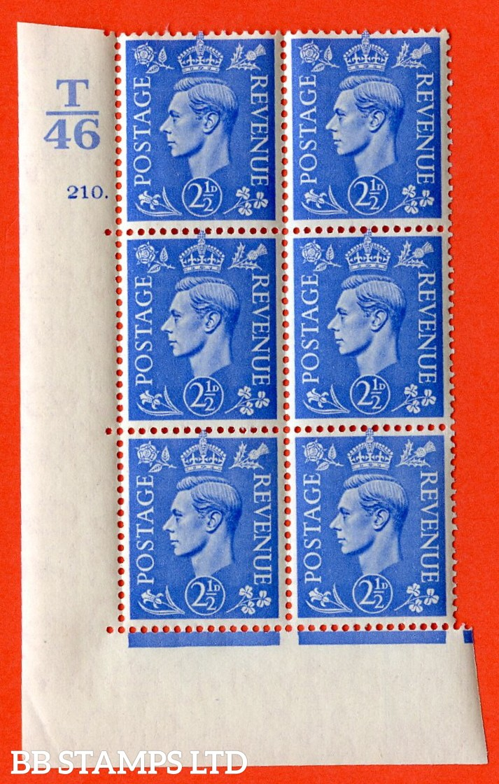 "SG. 489. Q14. 2½d Light ultramarine. A  superb UNMOUNTED MINT ""  Control T46 cylinder 210 dot "" control block of 6 with perf type 5 E/I."