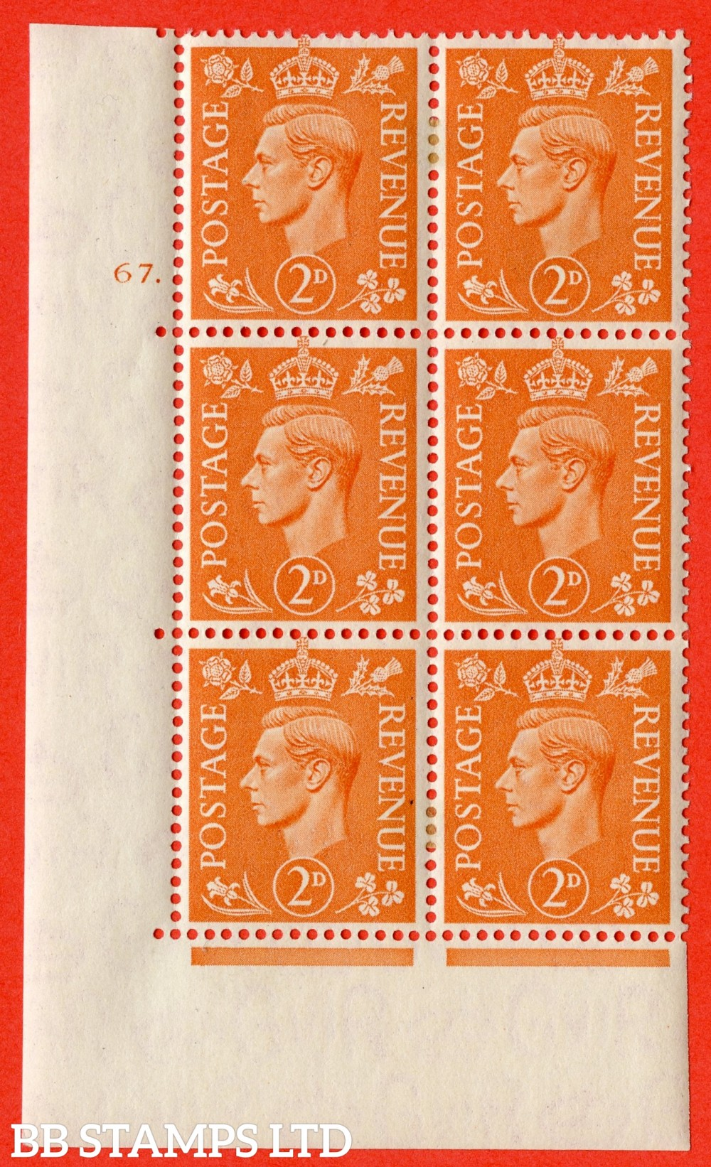"SG. 488. Q11. 2d Pale Orange. A fine ligthtly mounted mint "" No Control cylinder 67 dot "" control block of 6 with perf type 5 E/I."