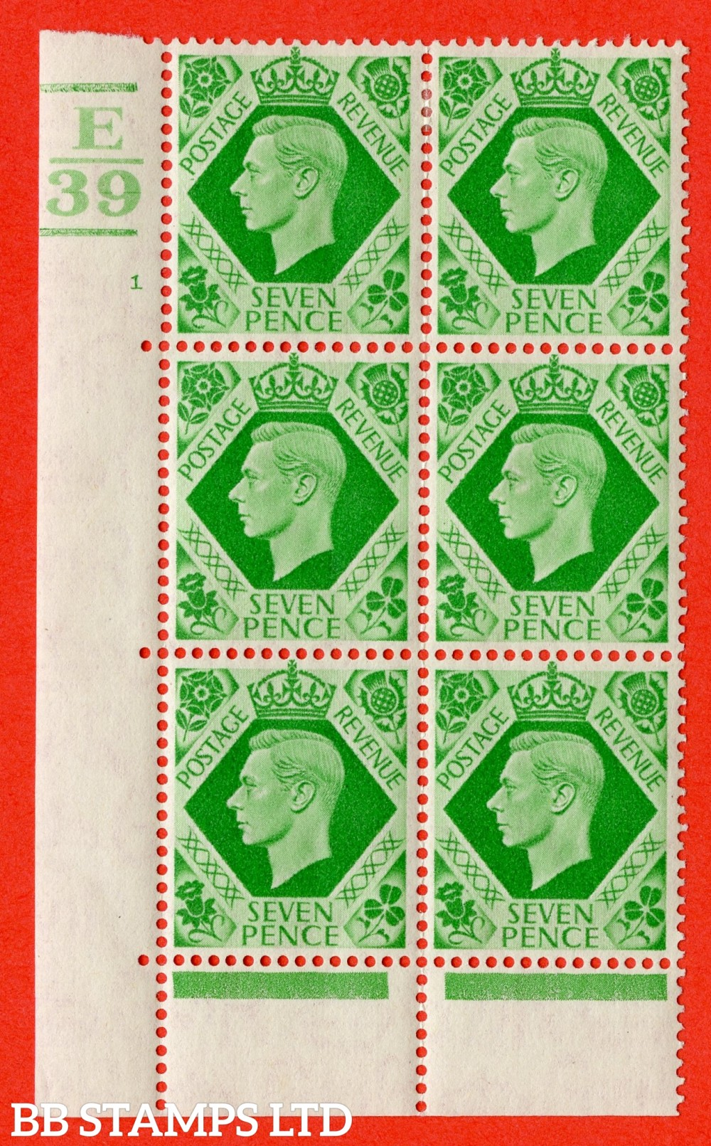 """SG. 471. Q23. 7d Emerald-Green. A fine lightly mounted mint """" Control E39. 3 Bars. cylinder 1 no dot """" control block of 6 with perf type 6B E/P."""