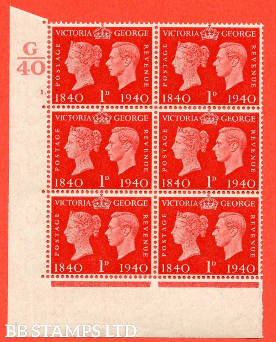 """SG. 480. QCom3. 1d Scarlet. A Superb UNMOUNTED MINT """" Control G40 cylinder 1 dot """" block of 6 with perf type 5 E/I. Creased in margin."""