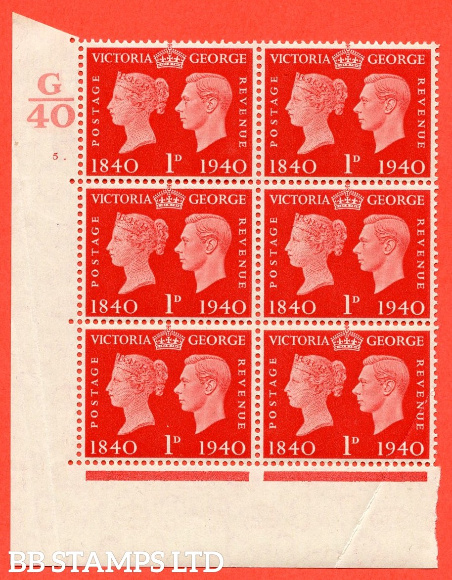 """SG. 480. QCom3. 1d Scarlet. A Superb UNMOUNTED MINT """" Control G40 cylinder 5 dot """" block of 6 with perf type 5 E/I. Creased."""