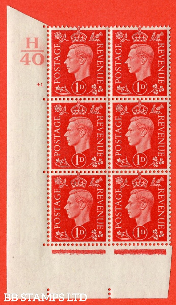 "SG. 463. Q4. 1d Scarlet. A superb UNMOUNTED MINT "" Control H40 cylinder 41 no dot "" block of 6 with perf type 5 E/I with marginal rule."