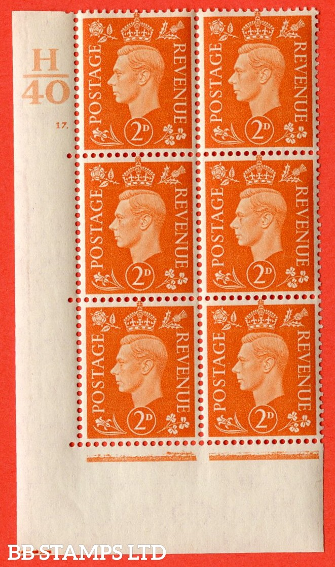 "SG. 465. Q10. 2d Orange. A very fine lightly mounted mint "" Control H40 cylinder 17 dot "" control block of 6 with perf type 5 E/I."