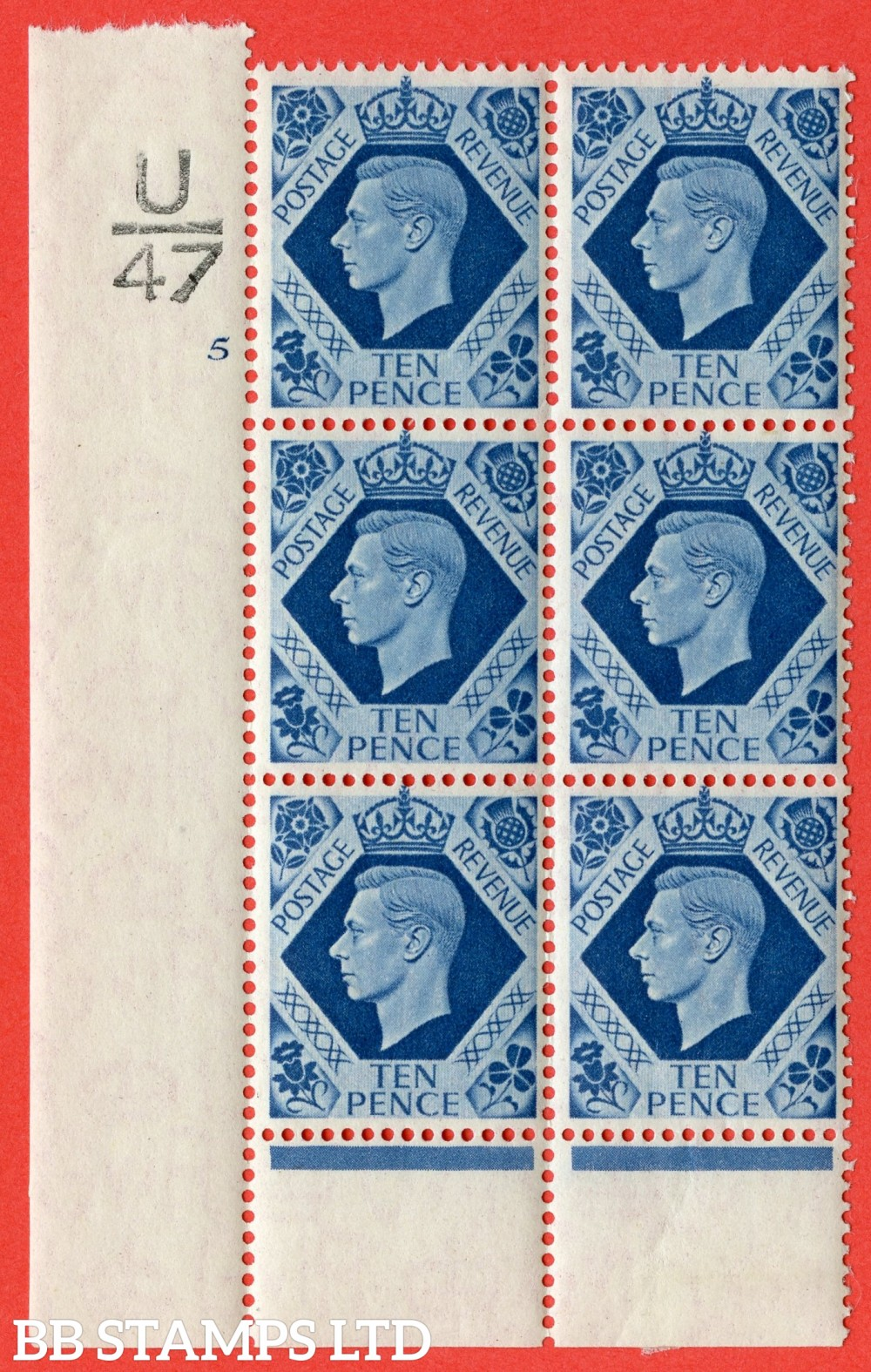 "SG. 474. Q26. 10d Turquoise-Blue. A fine mounted mint "" Control  U47 cylinder 5 no dot "" control block of 6 with perf type 6 I/P."