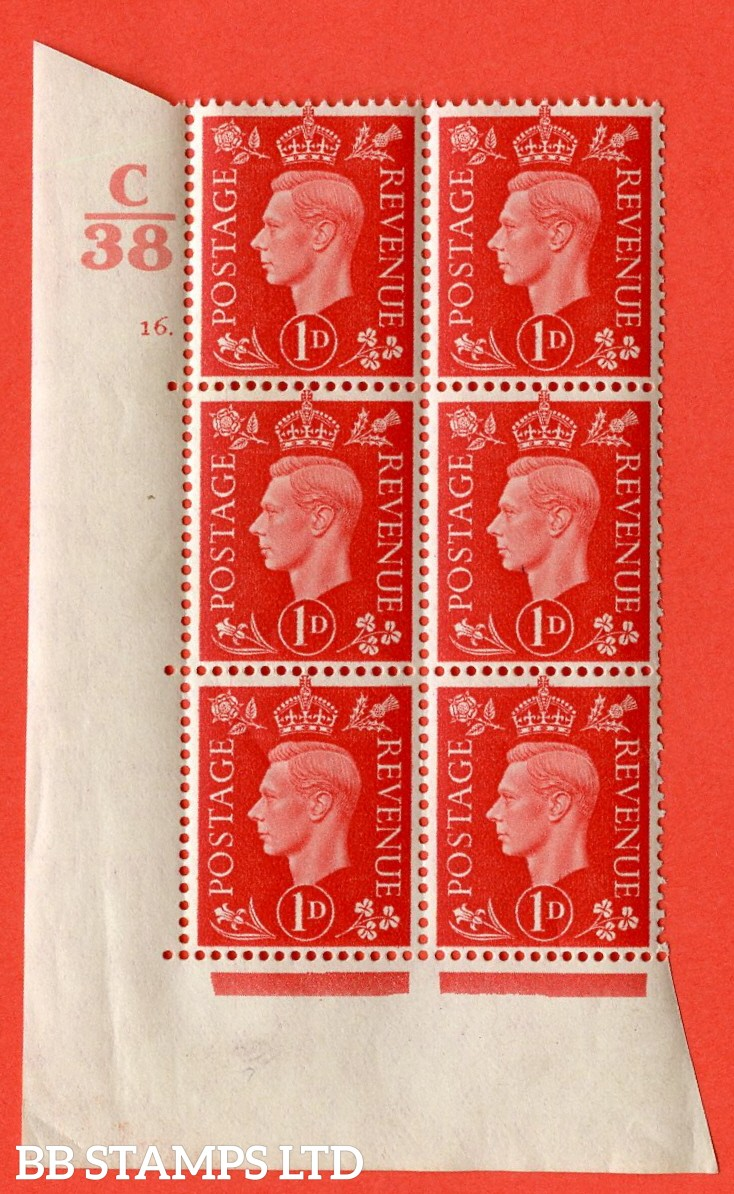 "SG. 463. Q4. 1d Scarlet. A superb UNMOUNTED MINT "" Control C38  cylinder 16 dot "" block of 6 with perf type 5 E/I with marginal rule."